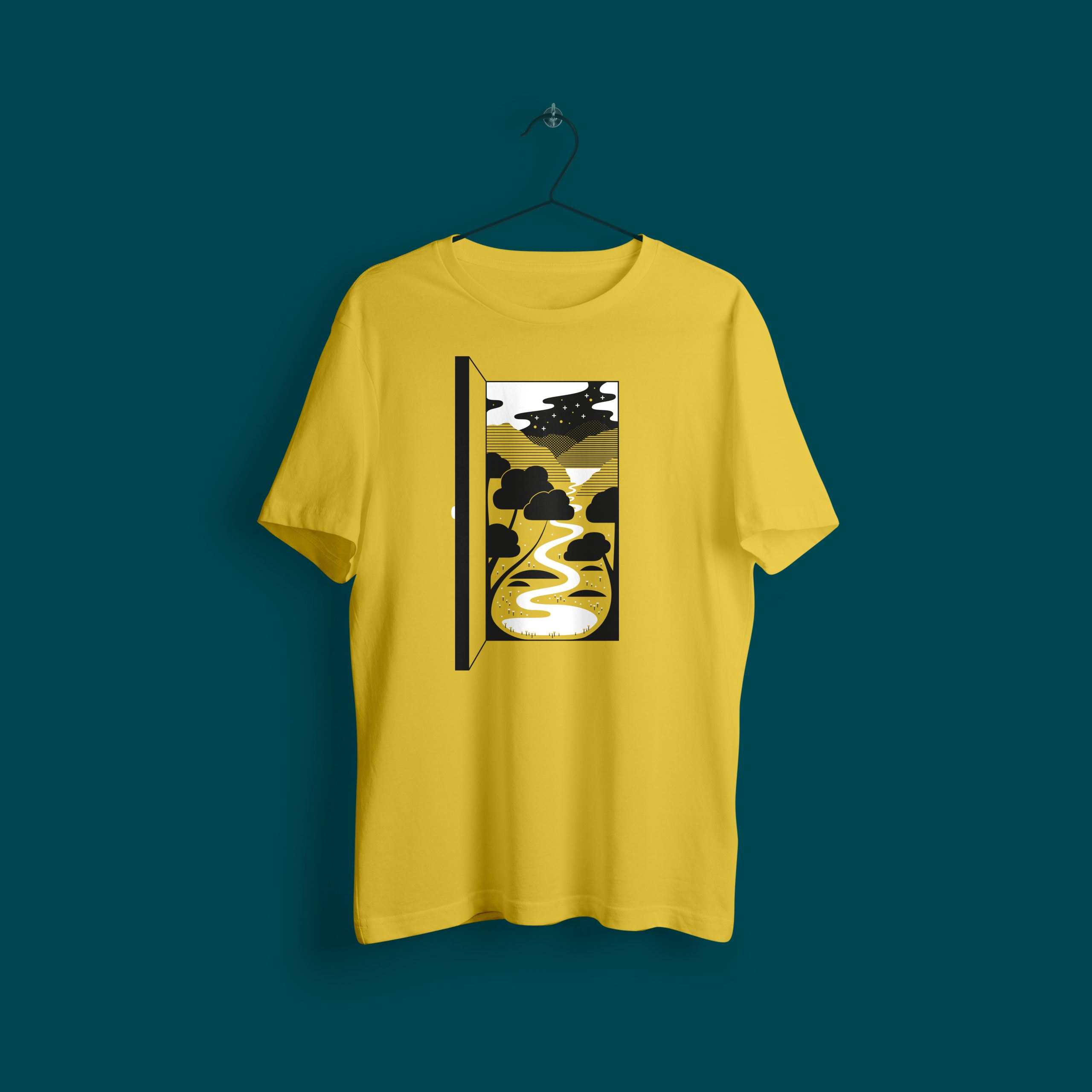 Mockup of a yellow t-shirt with an illustration of an open doorway within it you can see trees, flowers, a river a lake and mountains, with stars in the night sky too.