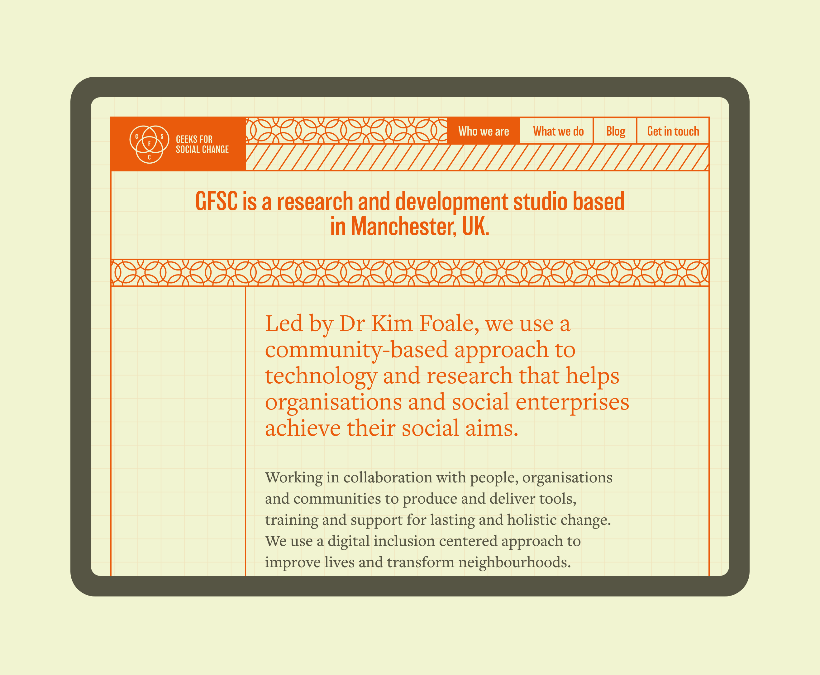 Geeks for Social Change website in a responsive tablet state. The website is mostly in deep orange with small text in a dark brown, against a soft green backdrop. The entire feel is quite vintage and retro but playful.