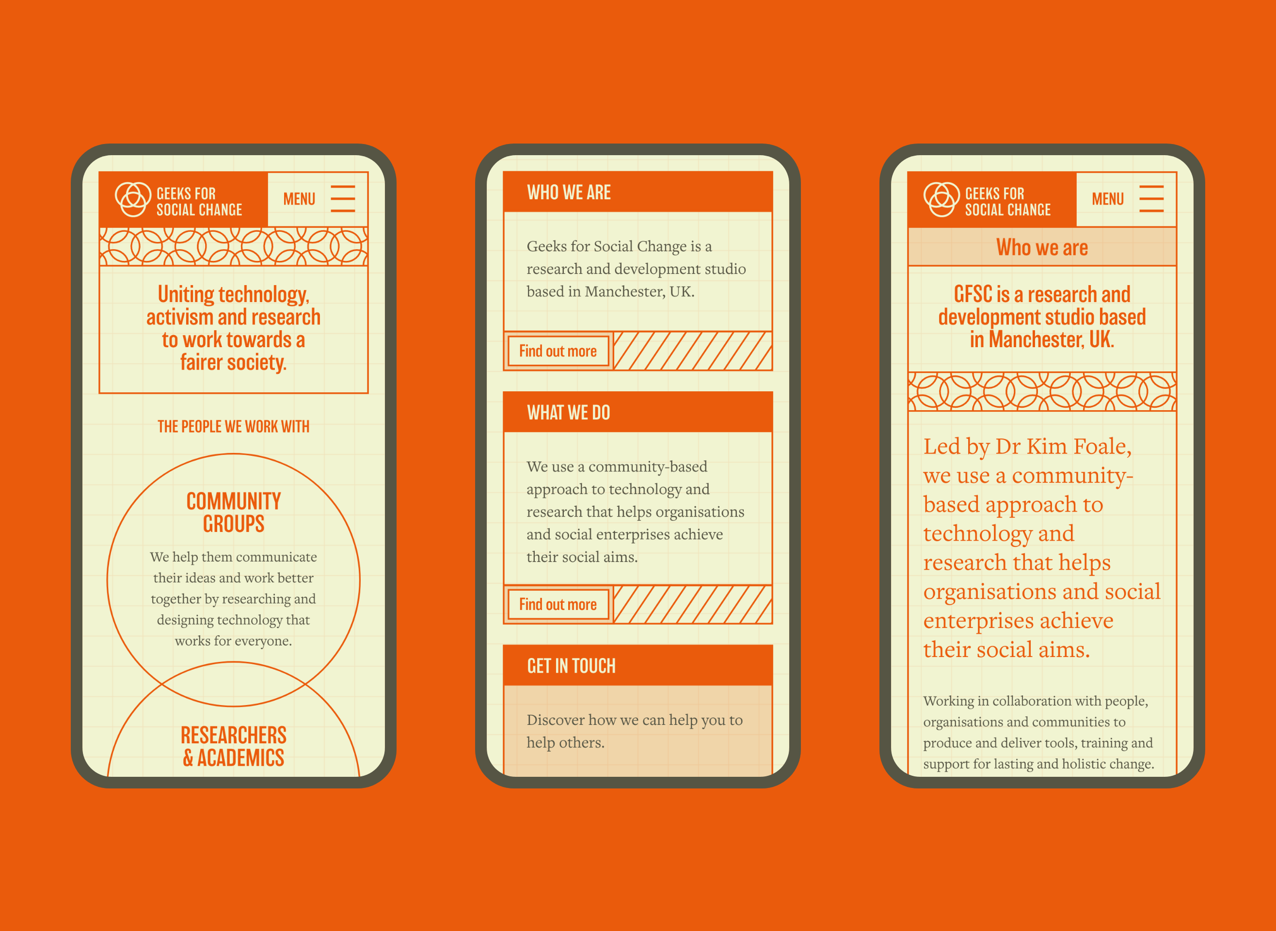 Geeks for Social Change website in several mobile lozenge states. The website is mostly in deep orange with small text in a dark brown, against a soft green backdrop. The entire feel is quite vintage and retro but playful.