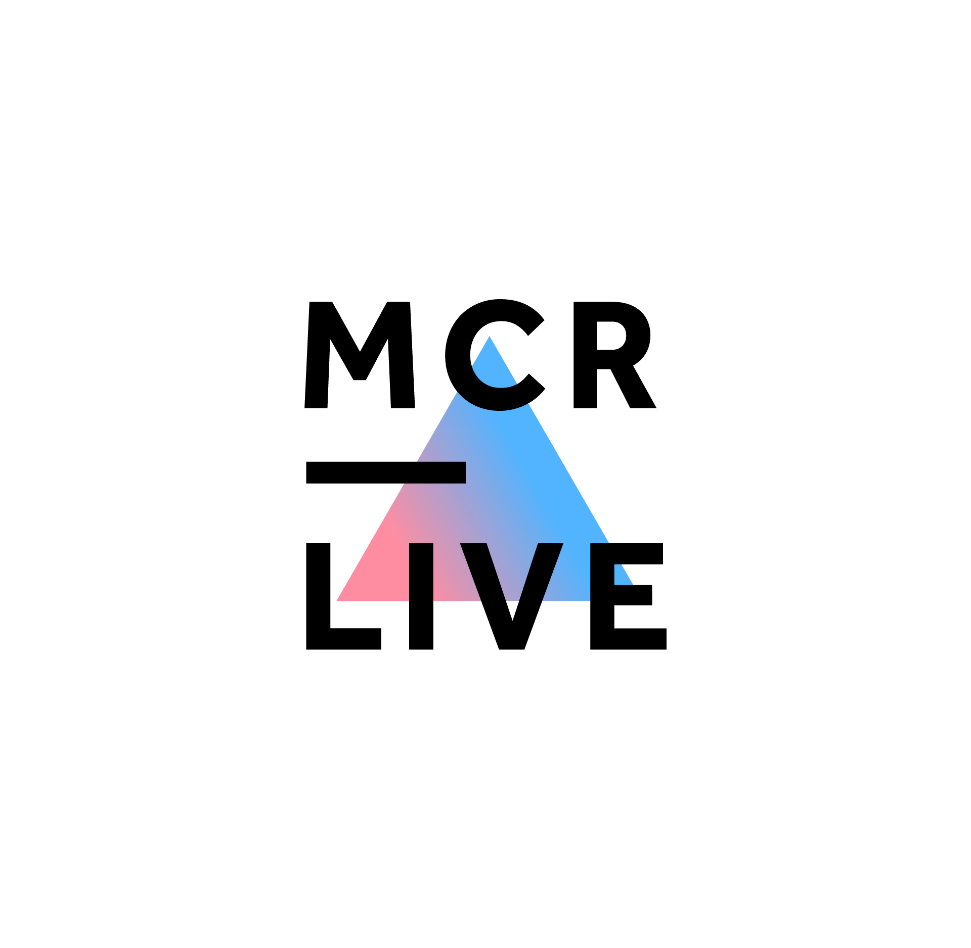 MCR Live logo on white, the text is all caps in an understated bold sans serif, stacked MCR a large underscore, and LIVE. All over the top of a triangle with a vivid gradient of pink to blue.