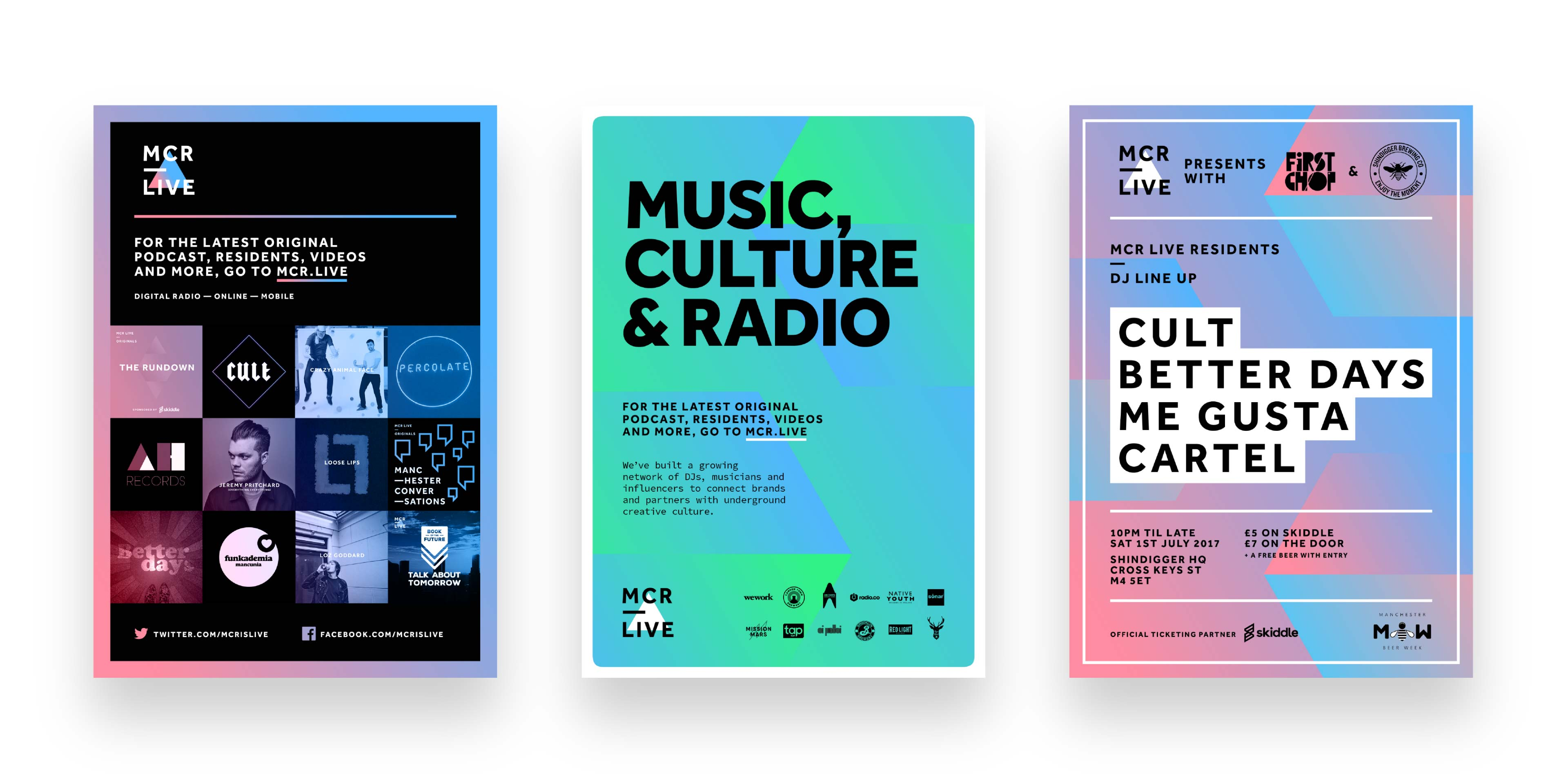 Three poster designs for MCR LIVE from different stages of its existence, all vibrant and different but energetic and playful, with brash colours and strong type.