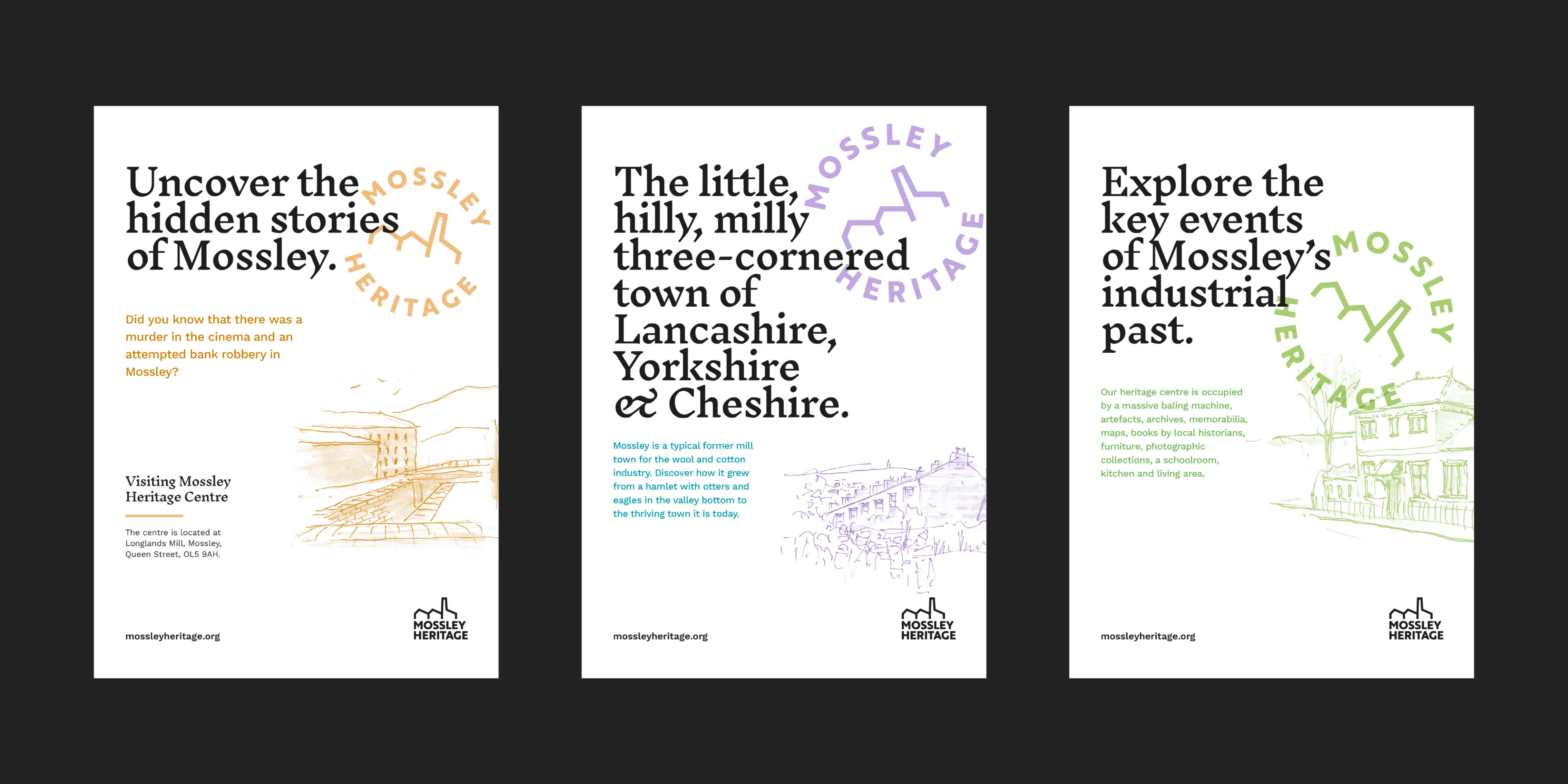 Three poster designs using three accent colours, all are mostly white backed, with black logo and vintage typography. Soft colours highlight some type, some details and some hand drawn illustrations.