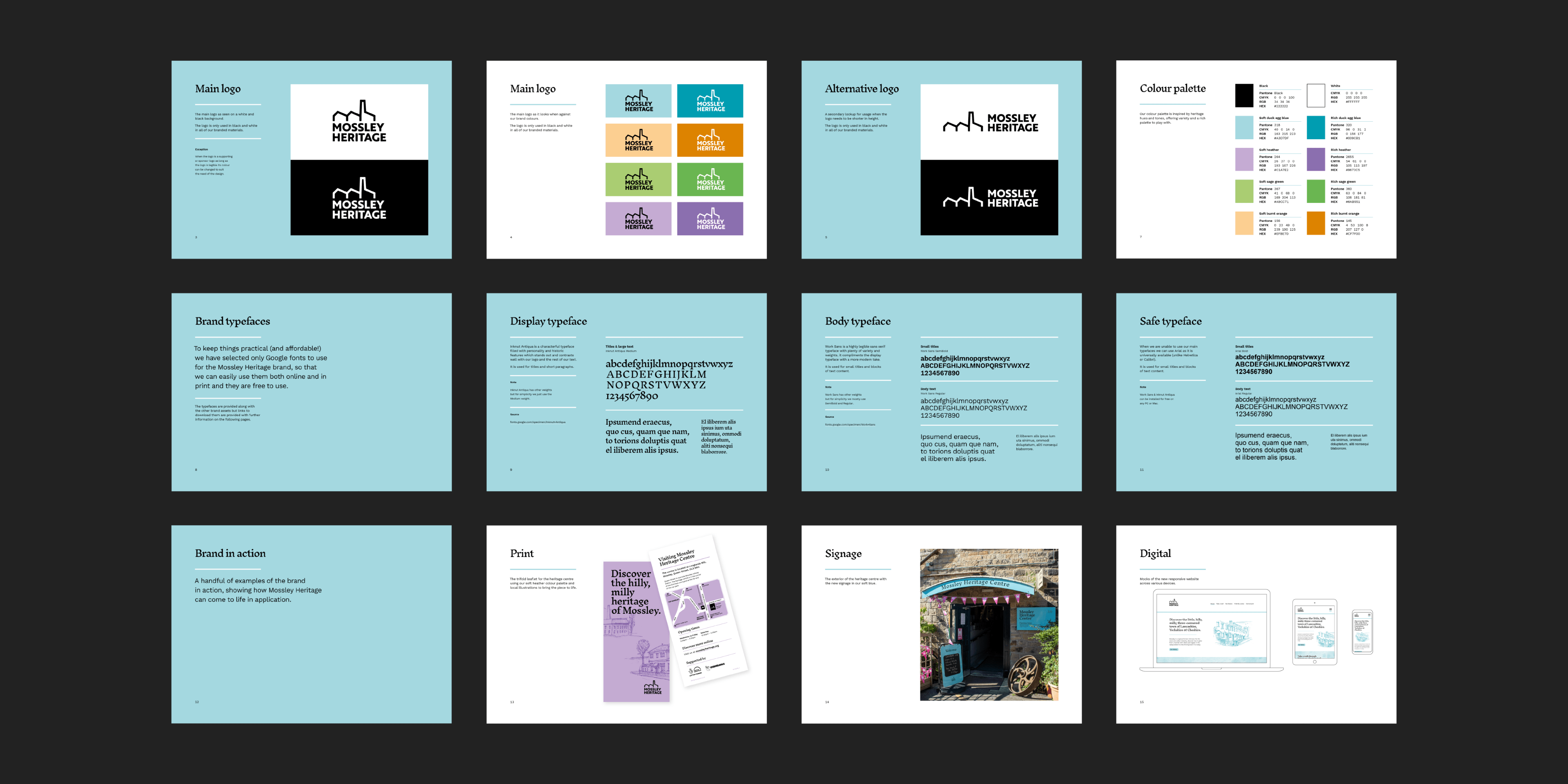 Sample of the brand guidelines for Mossley Heritage showing the variety and ways it can be used.