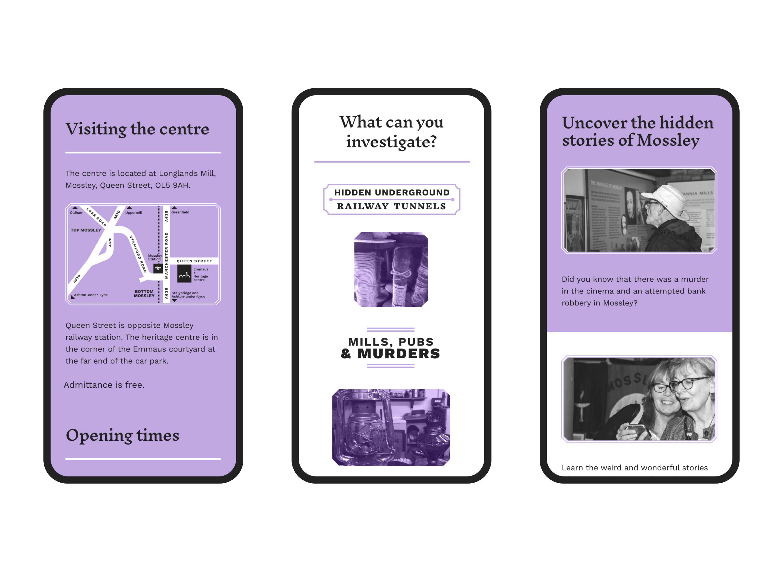 Mossley Heritage website demonstrated in a responsive state for a mobile device in multiple lozenge shapes. This page highlights the centre itself using a soft purple accent, and a purple treated image of the exterior.