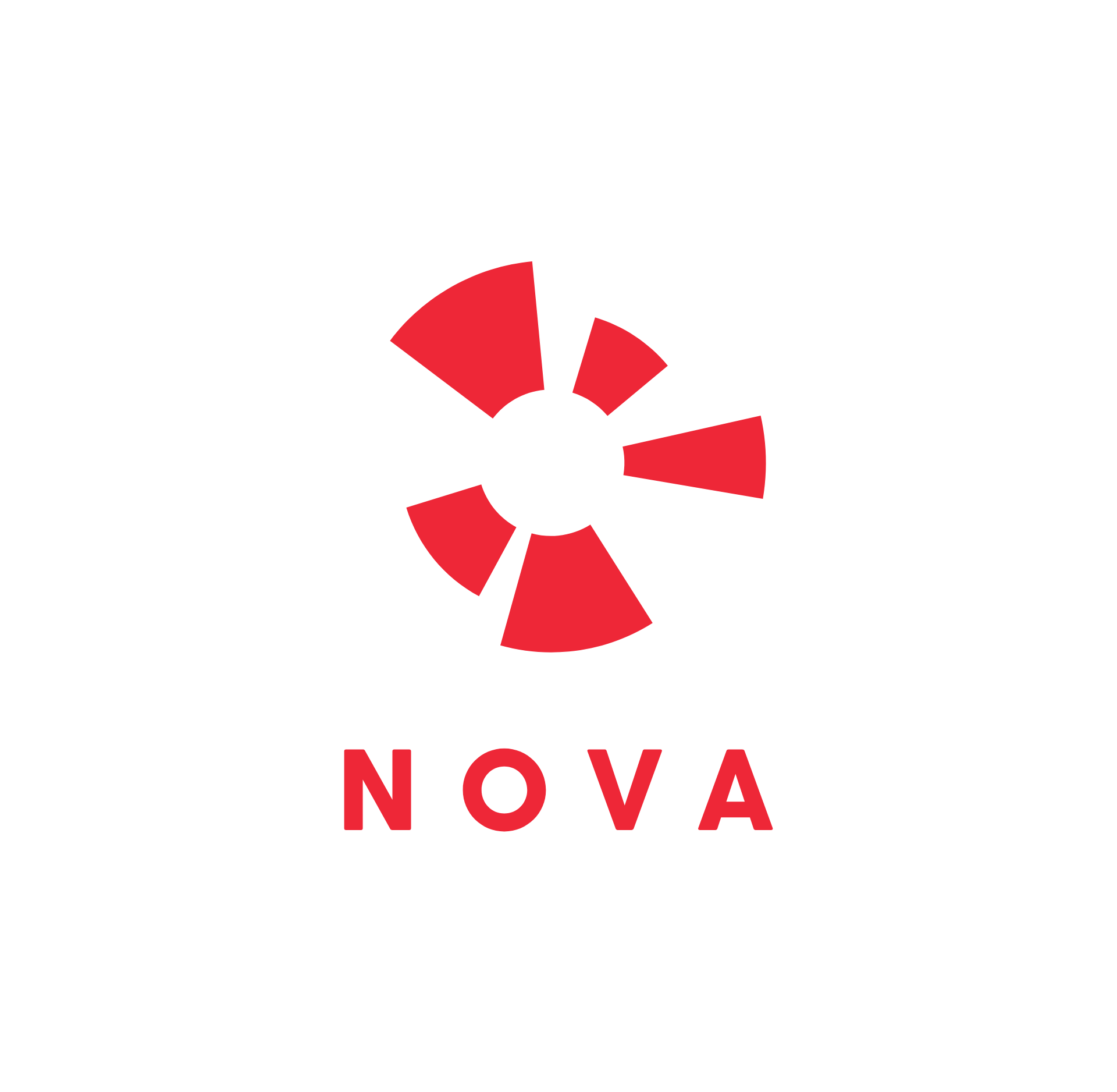Nova logo in red on white, the text NOVA is set in a modern clean sans serif typeface with a symbol of a star burst above it made up of the shapes from open skydiving parachutes and also subtly forms the shape of a human.