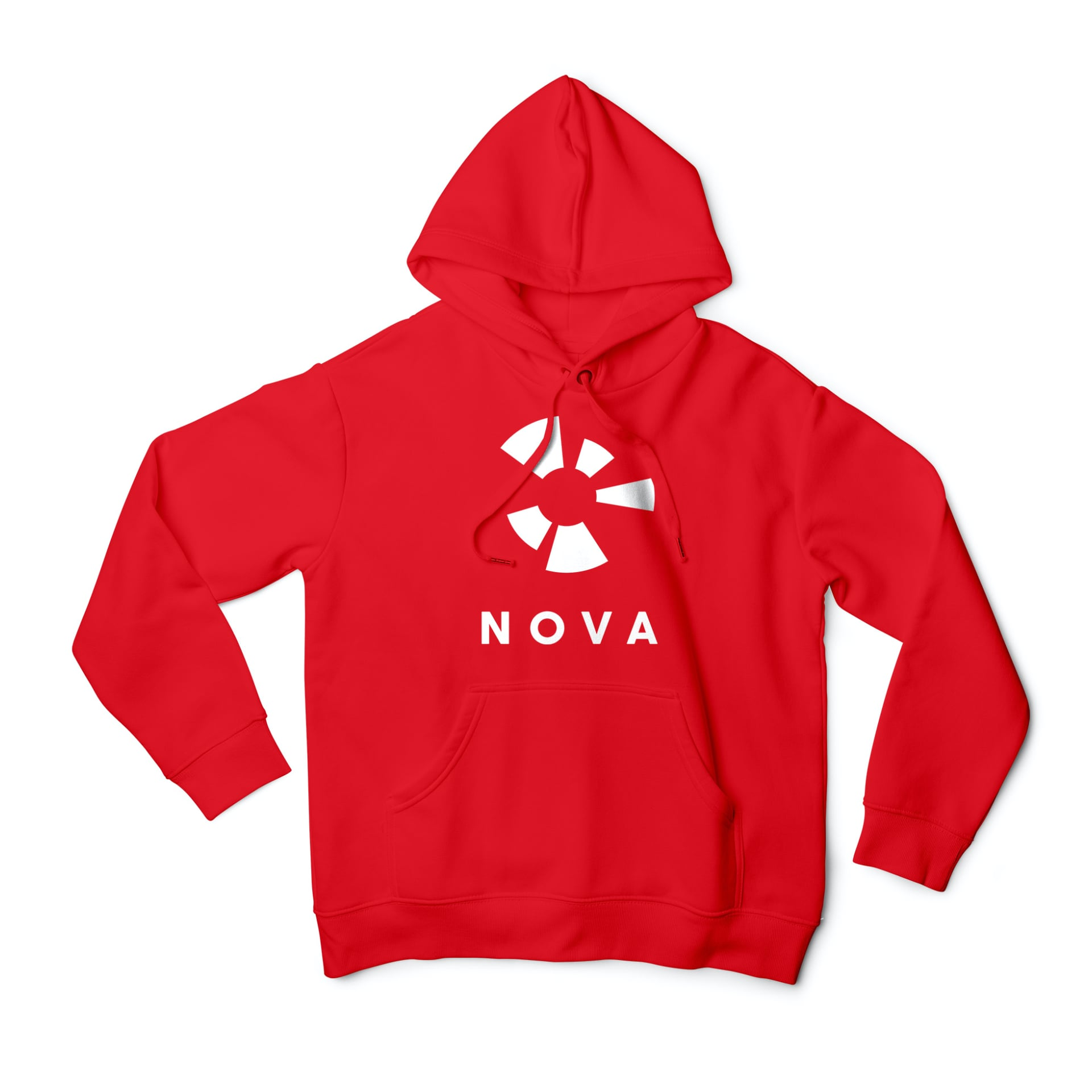 Nova logo in white in the centre of the front of a red hooded top.