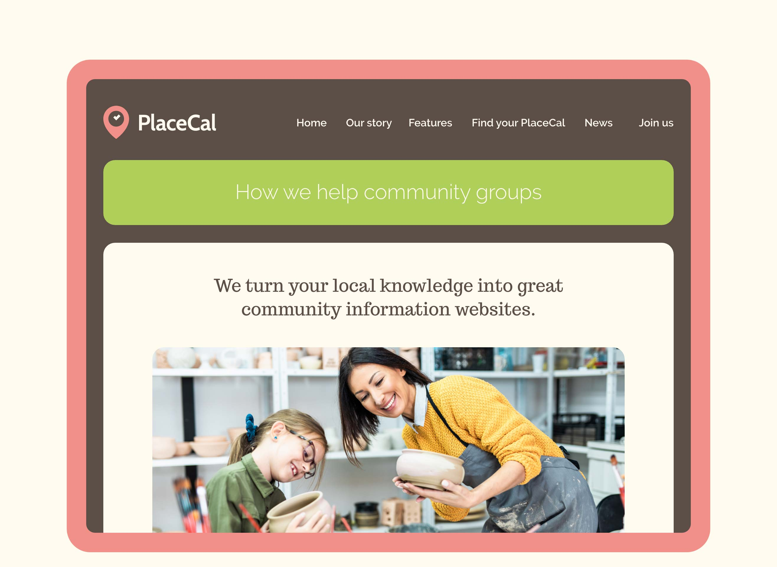 The PlaceCal website demonstrated in its responsive tablet state, the page talks about how it helps community groups.
