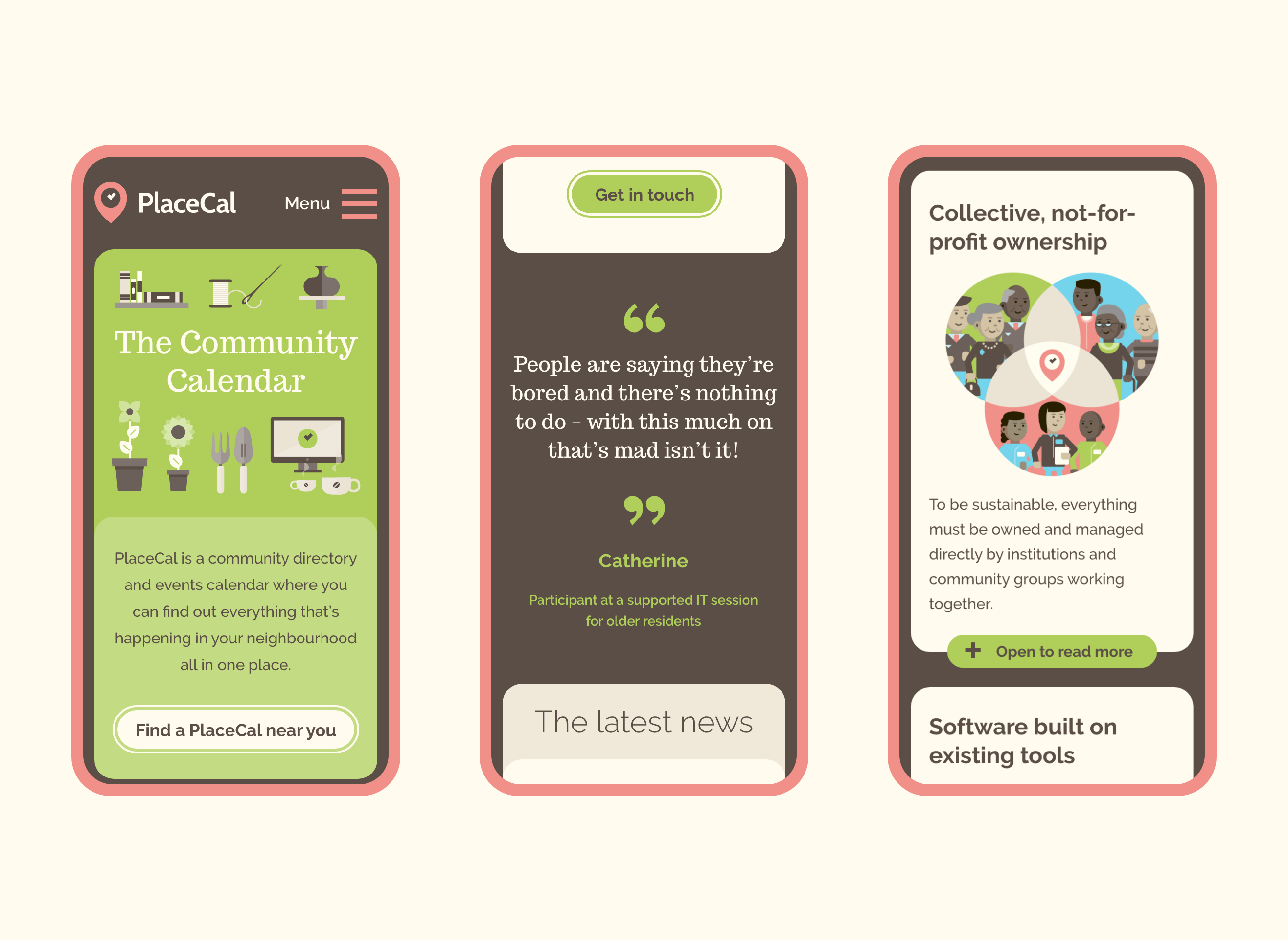 The PlaceCal website demonstrated in various mobile states in three lozenges, highlighting the homepage, community quotes, and illustrated details of how it helps.