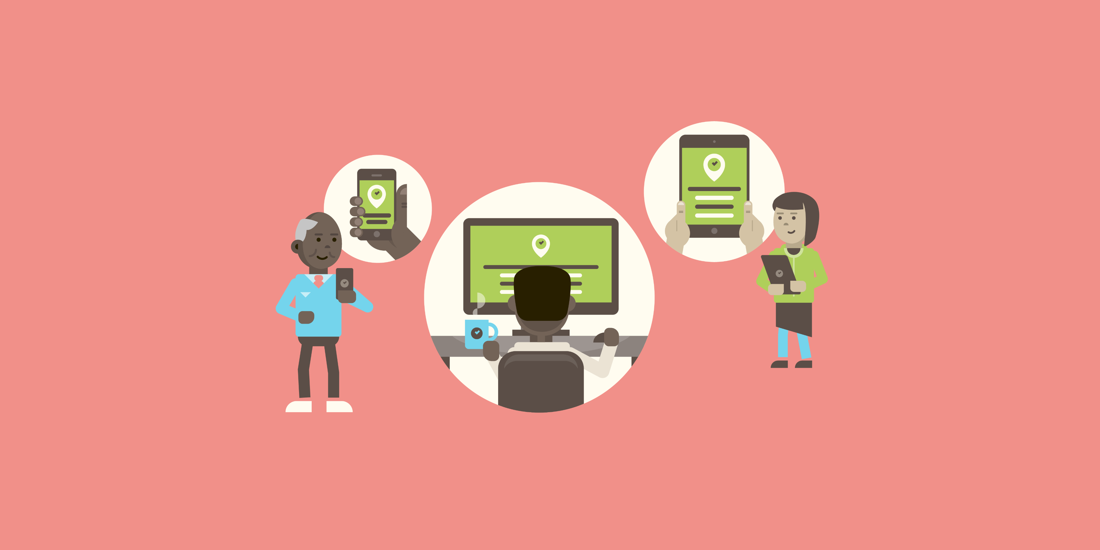 An illustration showing three individuals accessing or maintaining PlaceCal on their mobile, desktop computer or tablet – the illustration is in a very simple flat graphic vector style against soft pink.