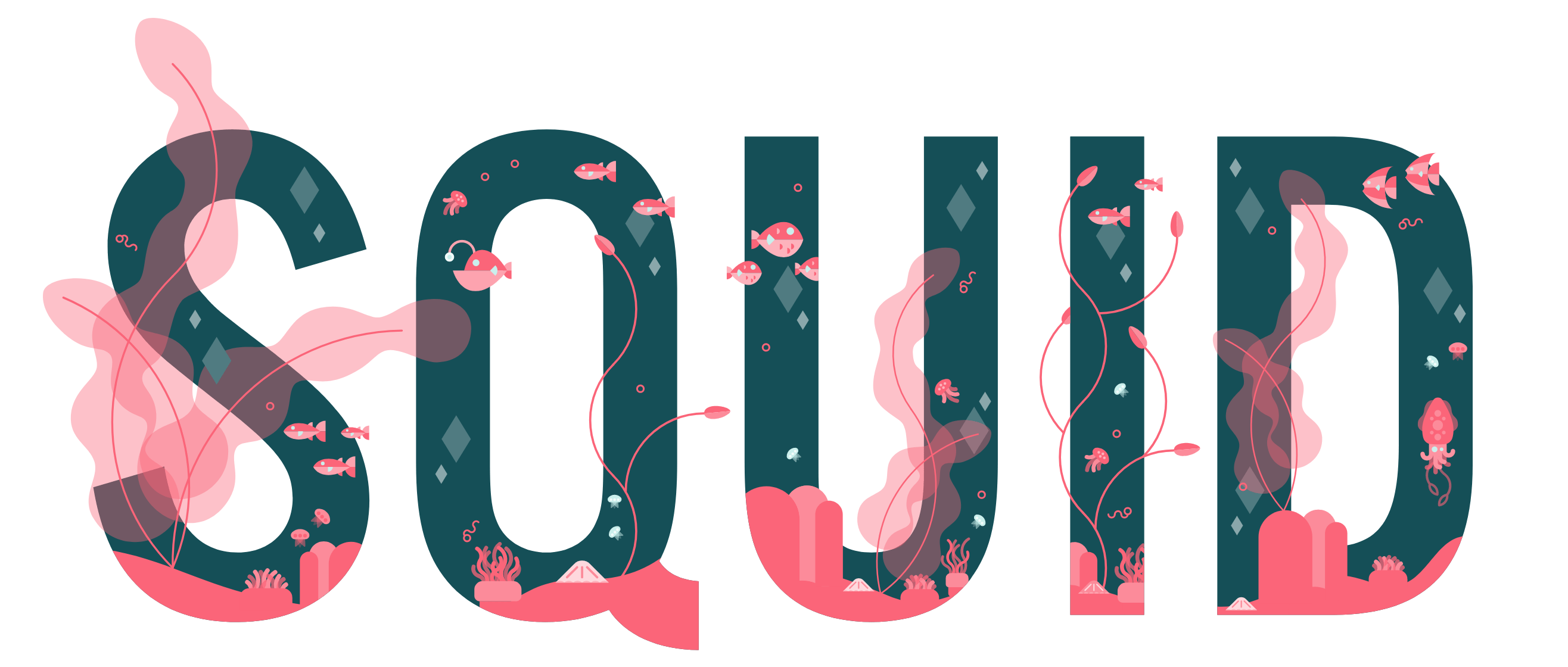 Squid's new logo filled with clean graphic illustrations of fish and water and plantlife weaving inside it and creeping out of the text in a few places.