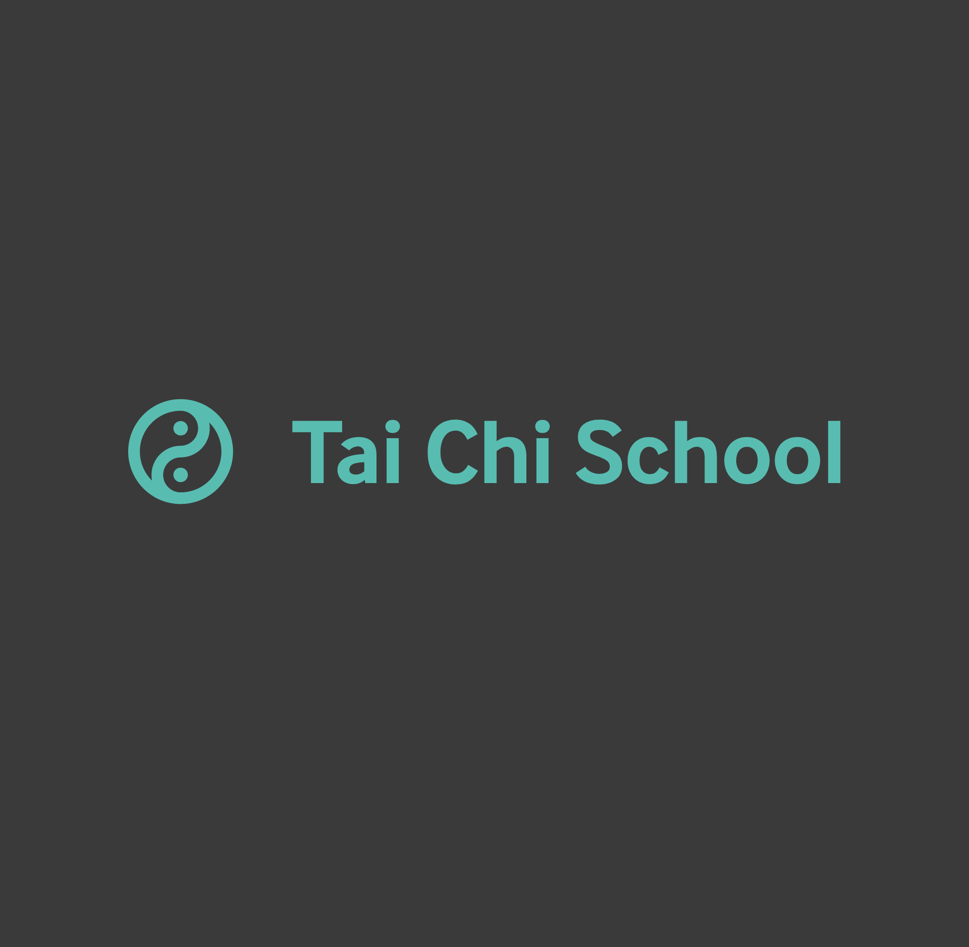 Tai Chi School logo in a teal colour on grey. The logo is very modern sans serif type with an understated thick linework version of the yin and yang symbol.