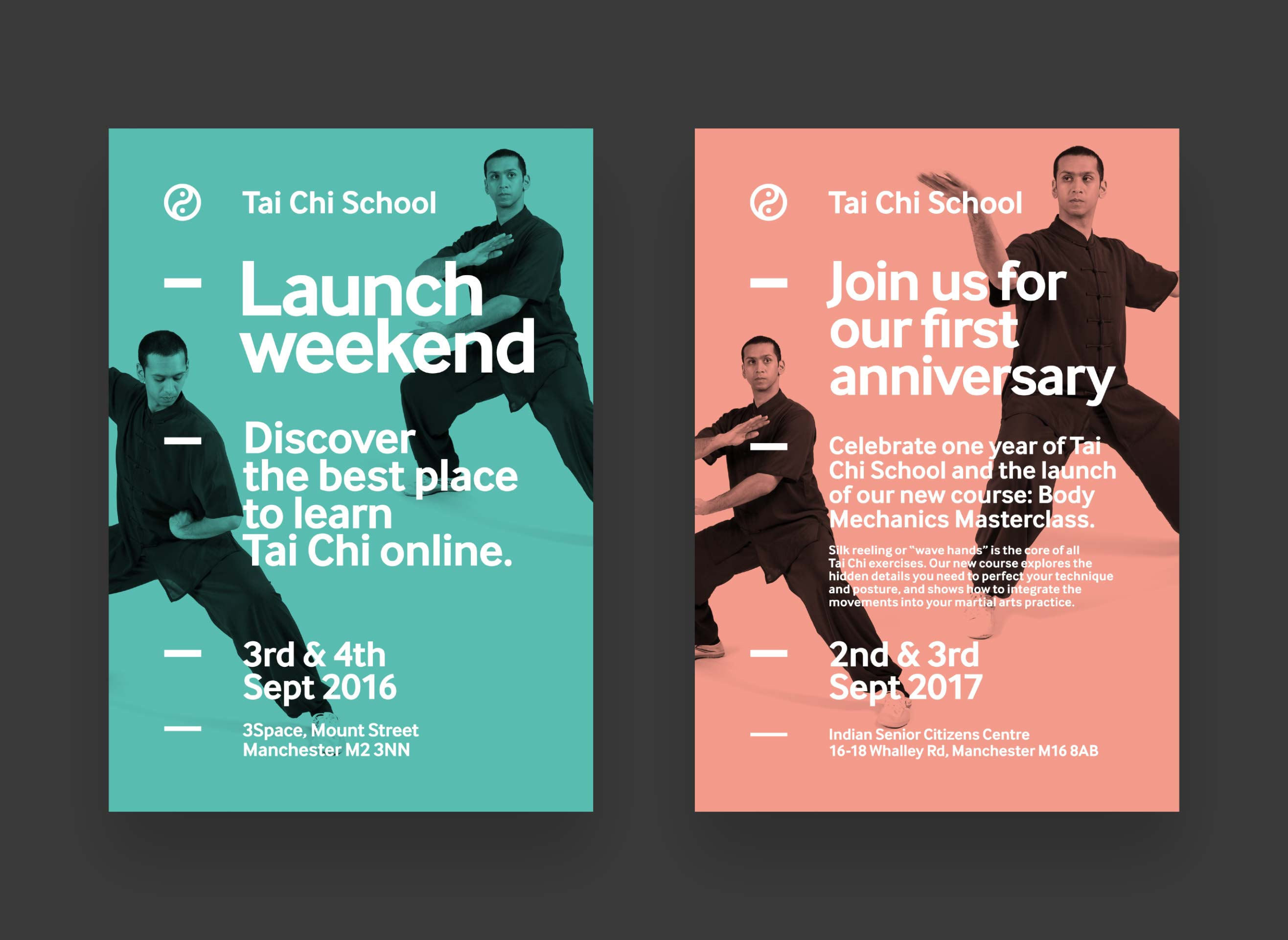 Two flyers for the launch of Tai Chi School and the first anniversary. Both are minimal with strong white type across a coloured backdrop, with black and white photography of Aamir in the backdrop behind the type.