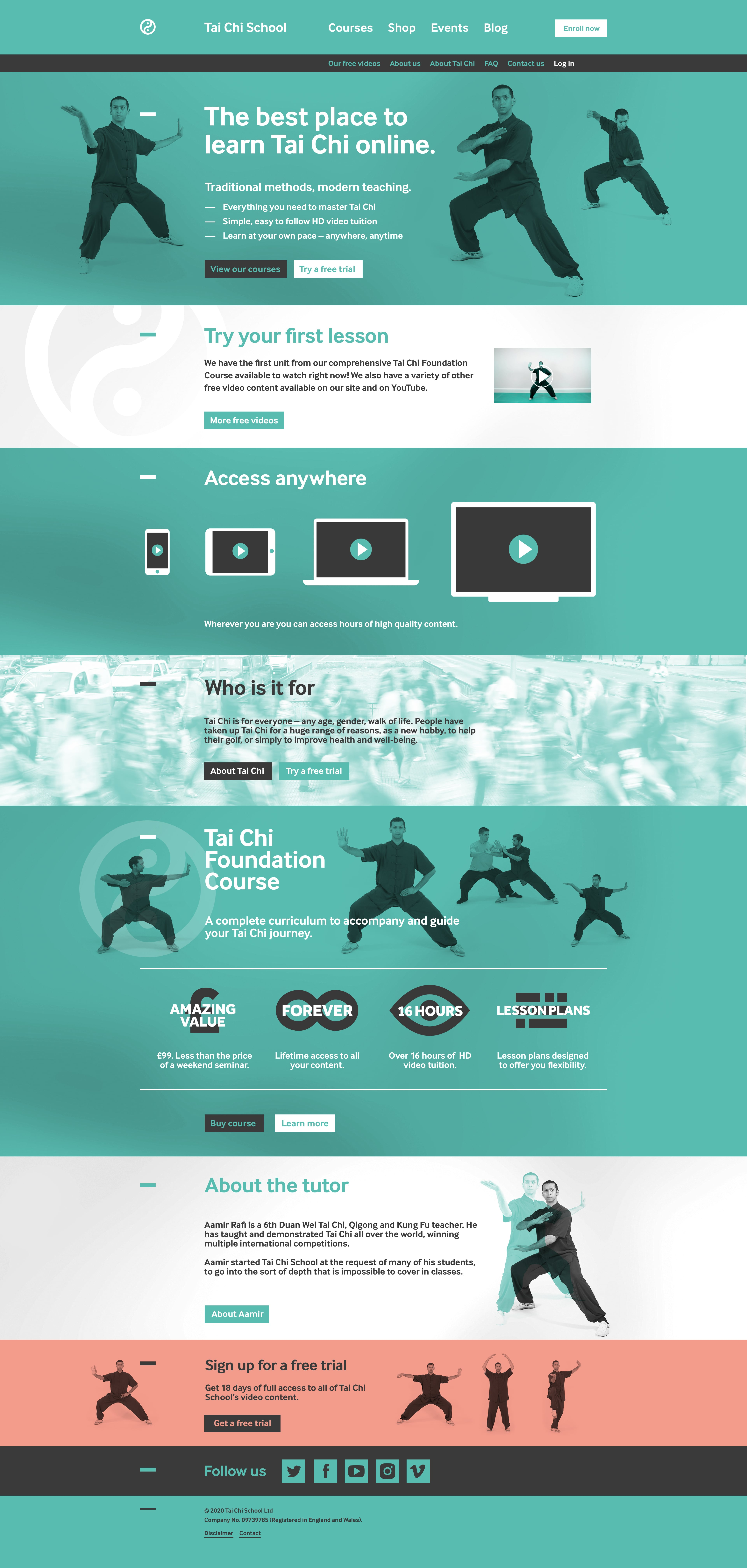 Tai Chi School website homepahge in full. The design is mostly teal with dark grey details and white type, though several blocks reverse this. A coral colour is used to draw attention to a free trial near the end.