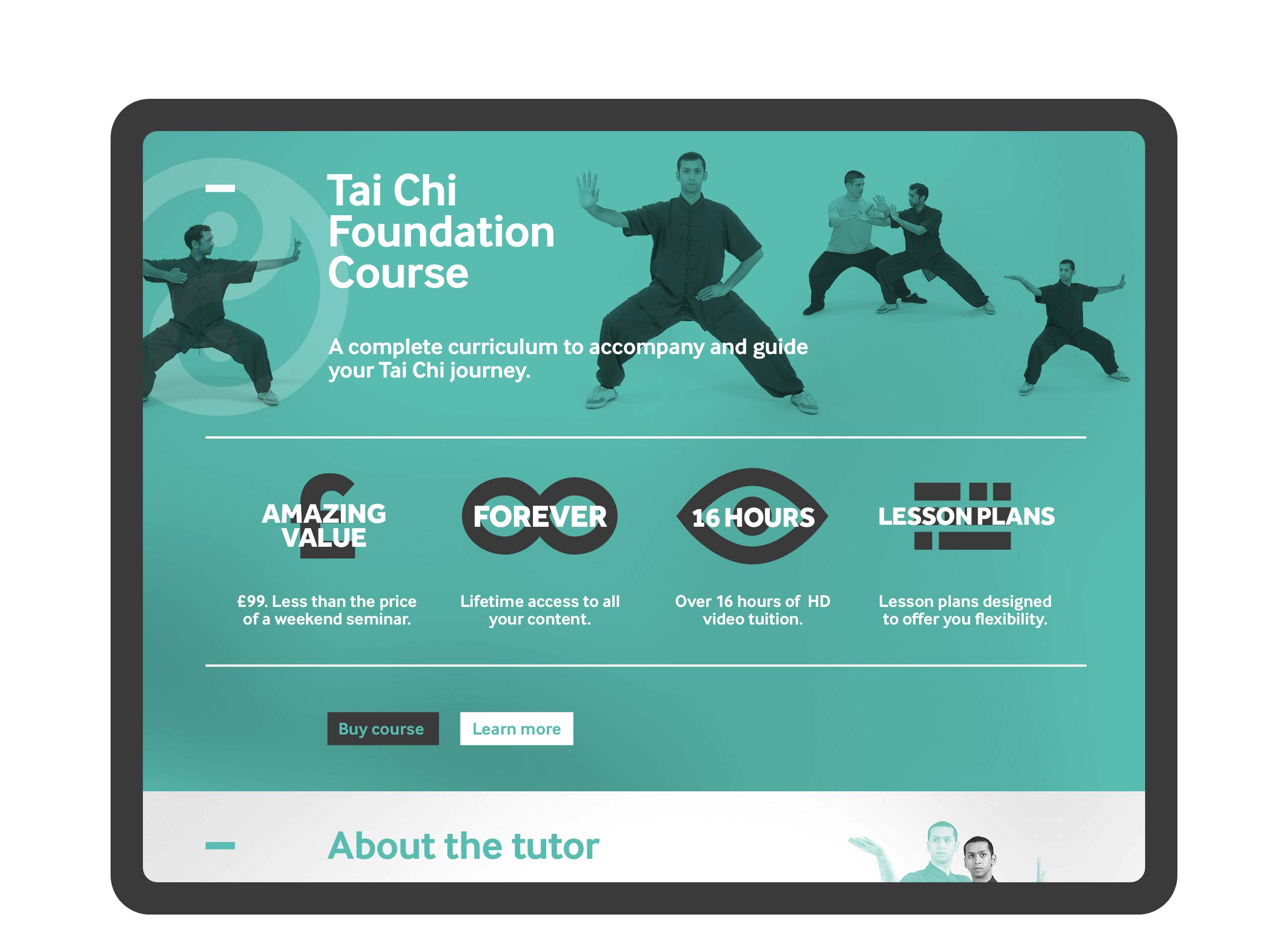 Tai Chi School website demonstrated in responsive tablet state. Focussed here on icons and photography relating to one of their main courses.