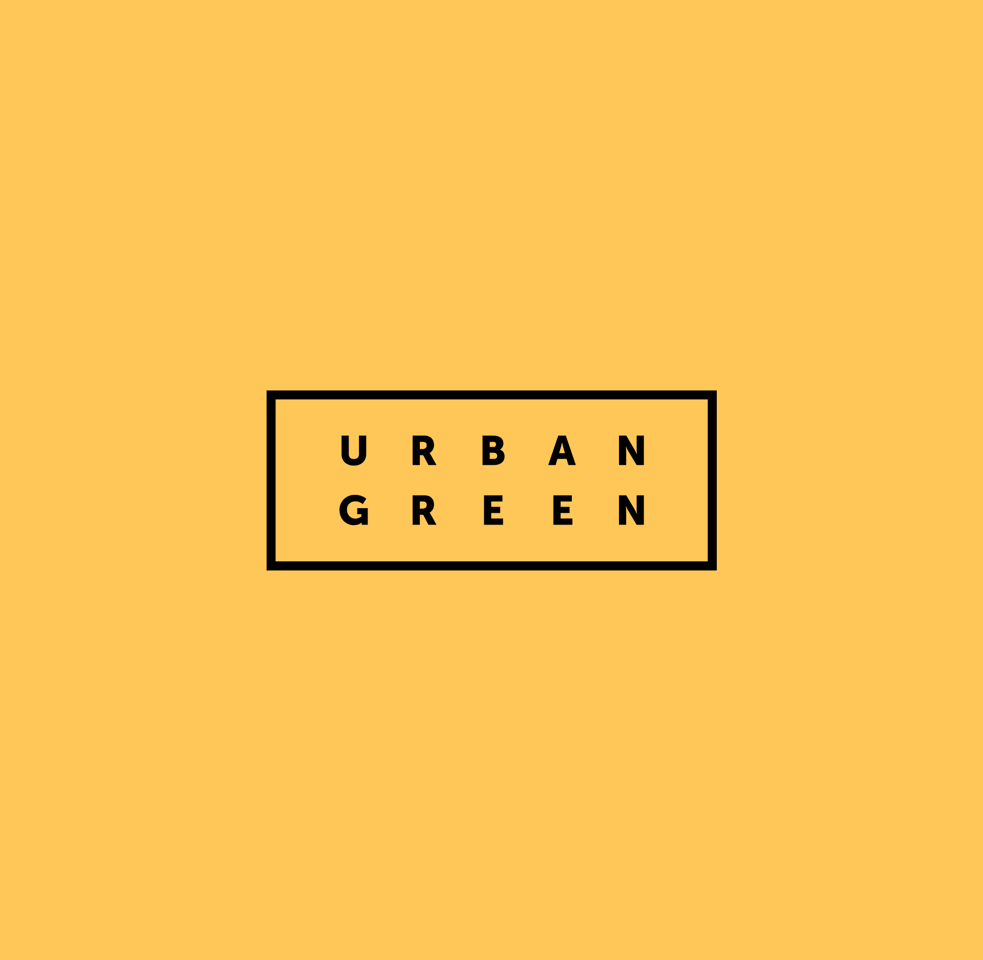 Urban Green's logo in black on a sandy yellow. The logo is made up of the words Urban Green spaced out evenly within a rectangular hollow box.