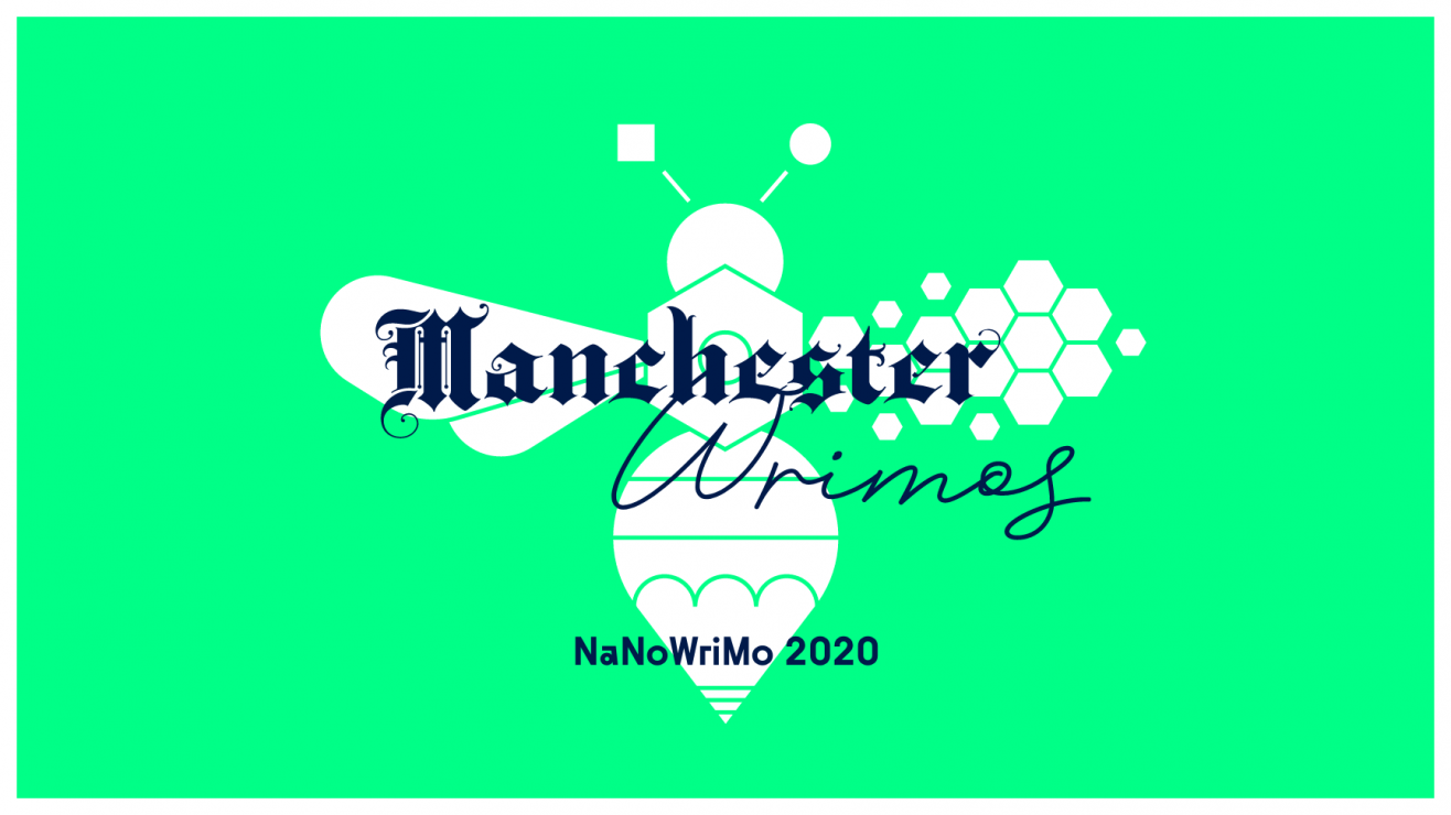 Dark blue text saying Manchester Wrimos large over a white writing bee on a bright light green backdrop. Smaller blue text says NaNoWriMo 2020 beneath that.