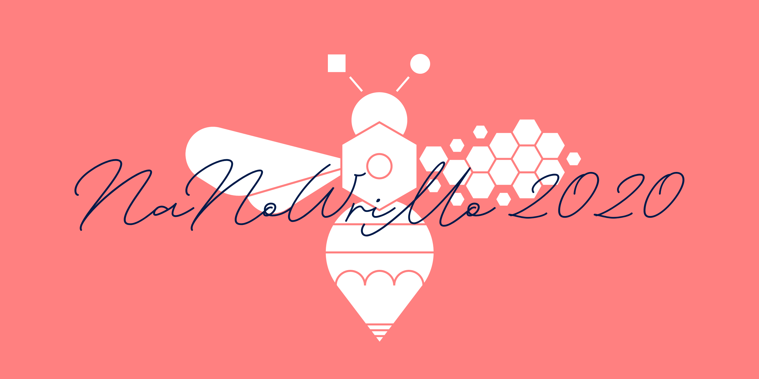 Manchester Writing Bee in white on pink backdrop with handwritten type saying NaNoWriMo 2020 in dark blue over it.